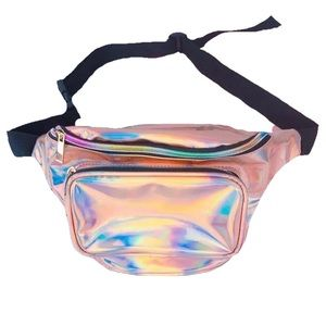HOLOGRAPHIC MILLENIAL PINK FANNY PACK WAIST BAG